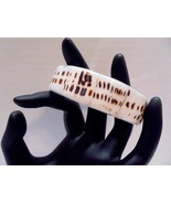"""3/4"""" W  Brown and White Spotted Shell Bangle Bracelet On Silver Tone Met... - $6.00"""