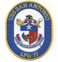 "5"" NAVY USS LPH-17 SAN ANTONIO EMBROIDERED PATCH - $23.74"