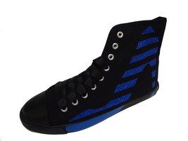 BE&D by Maison Dumain Striped Black Canvas Cobalt Sparkle Stilletto Heel... - $49.99