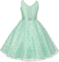 Flower Girl Dress V-Neck Lace Rhinestone Brooch Mint GG 3511 - $34.64+