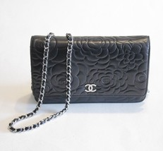 Chanel Black Camellia Flower Lambsking WOC Wall... - $2,821.50