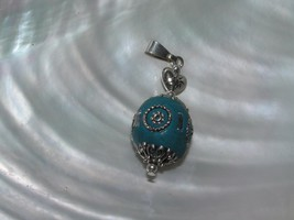 Estate Chunky Turquoise Clay Bead with SIlvertone Inlaid Accents Pendant... - $8.59