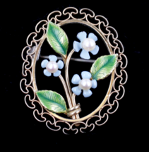 Vintage Krementz  Pearl Flower & Leaves Blue Green Enamel Filigree Pin G... - $59.39