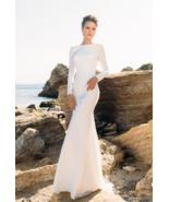 Simple Long Sleeved Backless Sheath Beach Wedding Dress - $255.00