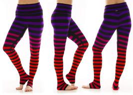 K-Deer Women's Purple/Red/Orange Sophia Stripe Full Length Leggings, XS-4X
