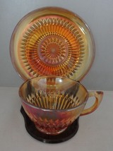 Jeannette Carnival Glass Anniversary Marigold Cup & Saucer image 2