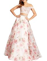 Women's Two Pieces Off Shooulder Evening Dresses Floral Print Long Prom Dress - $118.99