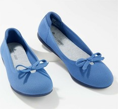 CLOUDSTEPPERS Clarks Washable Knit Bow Flats Carly Hope Denim 10M NEW A3... - $42.55