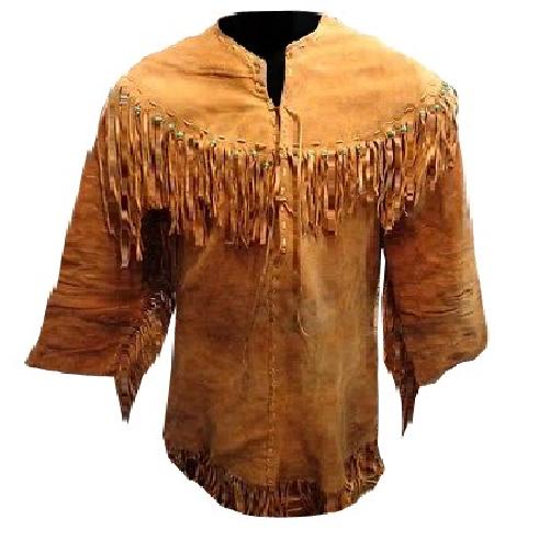 Men's New Native American Mountain Man Golden Brown Buckskin Goat Suede Shirt G8