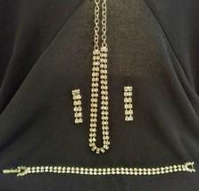 Vintage Double Row Crystal Rhinestone Jewelry Set - $7.92