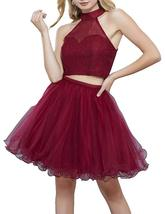Women Two Pieces Tulle Halter Homecoming Dress Short Lace Formal Prom Gown 2018 - $109.99