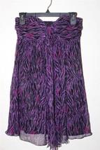 W8194 Womens EXPRESS Purple Pink Zebra Print 100% SILK Strapless DRESS T... - $19.29