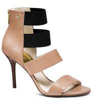 NIB MICHAEL Michael Kors Codie Beige Leather Open Toe Heel Pumps Sandals... - $89.00