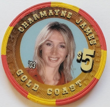 Las Vegas Rodeo Legend Charmayne James '03 Gold Coast $5 Casino Poker Chip - $19.95