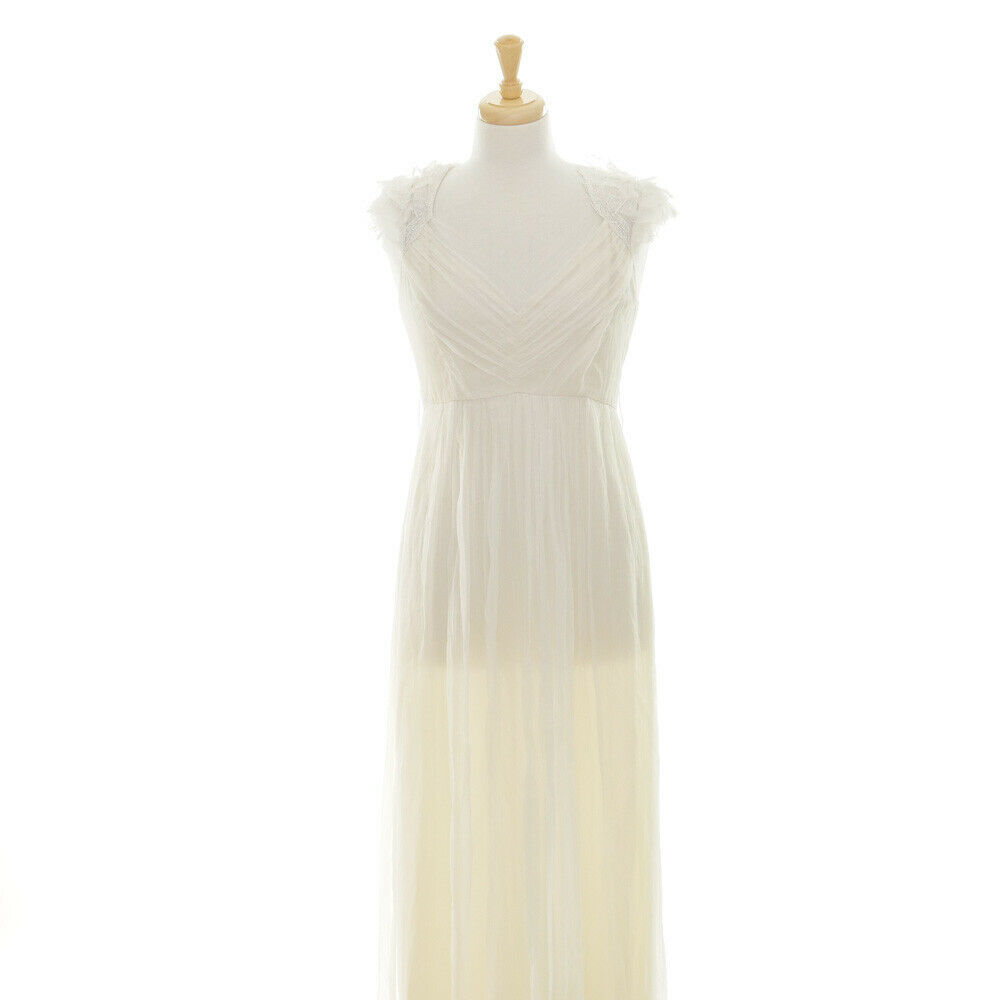 $2200 Saja Boho Beach Silk Ivory Keyhold Back Cap Sleeve Bridal Wedding Dress 6
