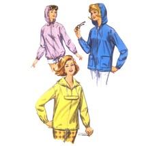 Vtg 60s Simplicity 5256 Misses Hooded Jacket Windbreaker Kangaroo Pocket... - $8.95