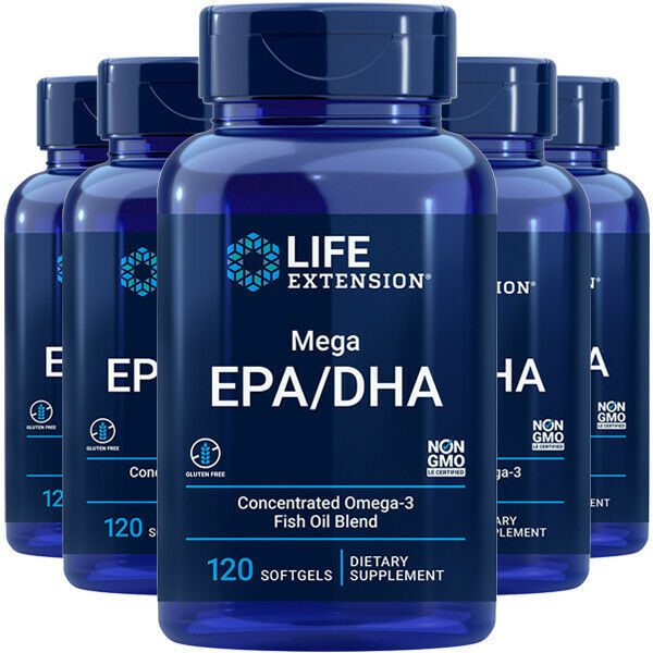 Life Extension Mega EPA/DHA 5X120gels Molecularly Distilled Vitamin E - $62.32