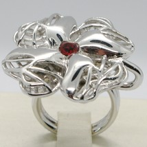 925 STERLING SILVER RING WITH WORKED BIG FOUR LEAF CLOVER BY MARIA IELPO image 2