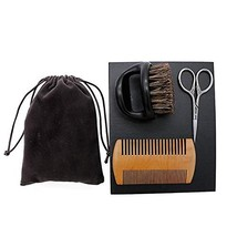 Beard Brush&Comb Kit for Men Beard Grooming 3 in 1 100% Boar Bristle Curve Beard image 1