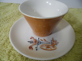 Brown White Cup and Saucer  Rooster Weather Vane Brown Blue - $9.89