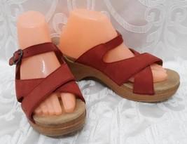 Dansko Women's Slide Sandals Sz.9.5/40 Red Soft Full Leather Shoes - $48.38