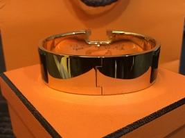 Authentic HERMES Clic Clac Wide Bracelet H BLACK GOLD HW SZ M Bangle  image 3