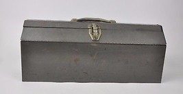 """Vintage Large Gray TOOLBOX w/ red Tray 21""""x9""""x7"""" Work Box Carpenter Hand... - $49.95"""