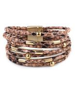 Amorcome Snakeskin Pattern Leather Bracelets for Women 2020 Bohemian Boh... - $16.46