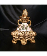 VINTAGE 1972 JAMES A. BEAM DECANTER GOLD WITH FLORAL INSET, Empty - $12.50