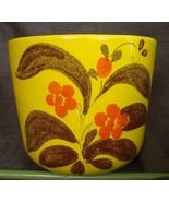Vintage 80s Yellow Floral Glaze Ceramic Container Planter Pot Bowl Bonsa... - $49.45
