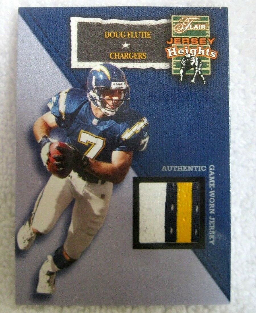 DOUG FLUTIE 2002 FLAIR JERSEY HEIGHTS 4-COLOR GAME USED PATCH-CHARGERS QB PATCH