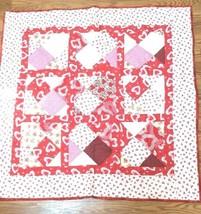 "Hand Made Valentine Lap Quilt 40.5"" x 40.5"" Red & White  QUI 2-2 - $49.01"