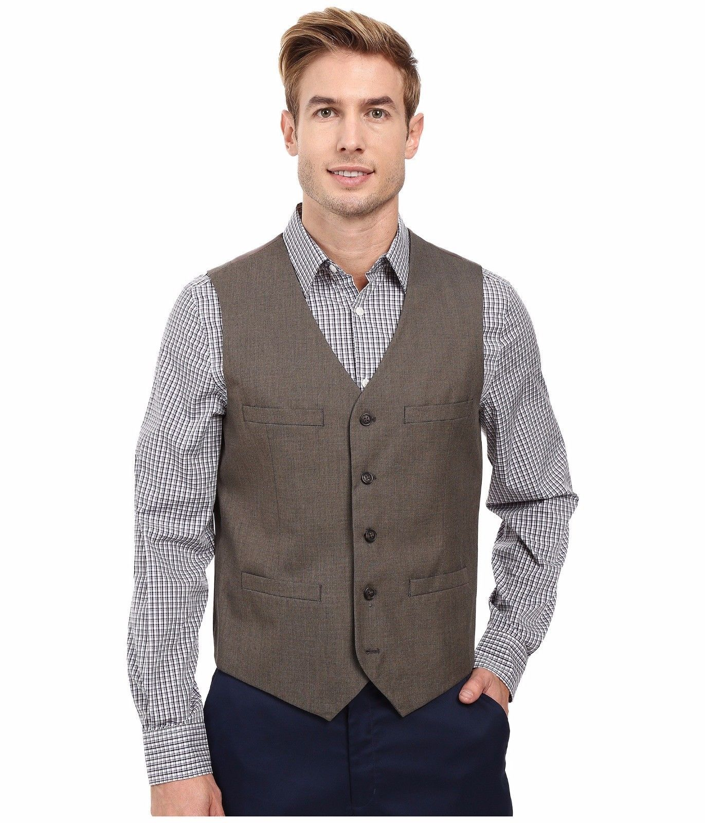 Perry Ellis - Regular Fit Pattern Twill Suit Vest (Chinchilla) Men's Vest $70