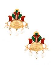 Ethnic Indian Traditional 18k Women Enameled Pearls Dangle Drop Pair Ear... - $22.76