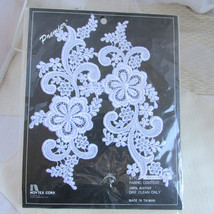 2 Vintage White Lace Applique Swirl Vines & Flowers Motif  New Old Stock... - $22.50
