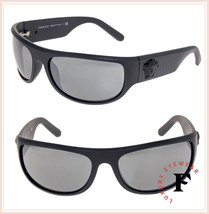 VERSACE Men Black Medusa Wrap Sunglasses VE4276 Matte Grey Silver Mirror... - $202.26