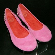 Jessica Simpson 'Abigail' pink suede round toe studded slip on ballet flats 9B - $33.30
