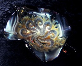 Dugan Carnival Glass QUESTION MARK Lavender Bon Bon One of a Kind Irides... - $59.40