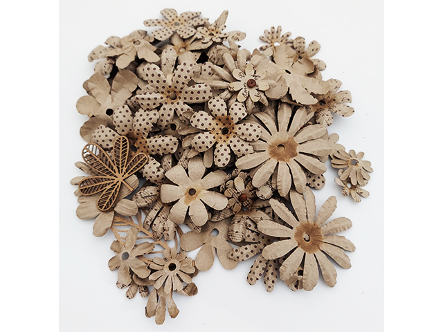 Brown Plain and Printed Single Flowers, Various Sizes