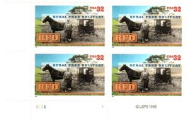 1996 Rural Free Delivery Plate Block of 4 US Postage Stamps Catalog 3090 MNH
