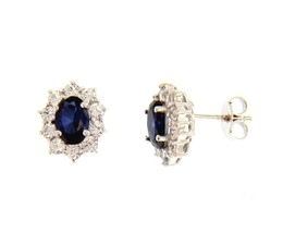18K WHITE GOLD FLOWER EARRINGS OVAL BLUE CRYSTAL AND CUBIC ZIRCONIA FRAME 13mm image 1