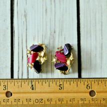 vintage pink purple lucite ab rhinestone earrings gold tone aurora borealis - $14.84
