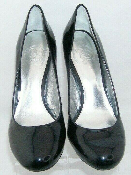 Jessica Simpson 'Oscar' black round toe patent leather slip on pump heel 7.5W