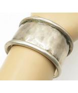 LILLIAN VERNON 925 Silver - Vintage Rustic Curved Edge Wide Cuff Bracele... - $131.74