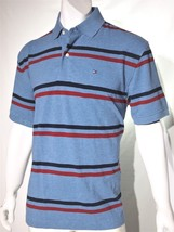 Tommy Hilfiger men's classic fit striped pique knit polo top size large  - £45.21 GBP