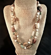 """Beautiful Vintage Handmade Natural Stone 35"""" Multi-color Long Necklace - $20.00"""