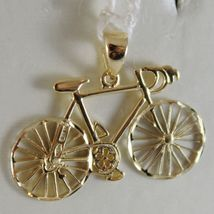 SOLID 18K WHITE & YELLOW RACING BICYCLE BIKE CYCLING SATIN PENDANT MADE IN ITALY image 4