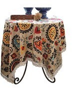 Aothpher Modern Boho Floral Jacquard Washable Tablecloths with Lace for ... - $31.08