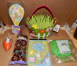 Easter Mix Lot 6 Items Basket Stickers Plastic Grass Eggs Paddle Ball Racer 162S - $12.49