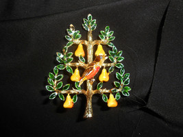 Codoro Partridge In A Pear Tree Vintage Enamel Statement Brooch - $33.25